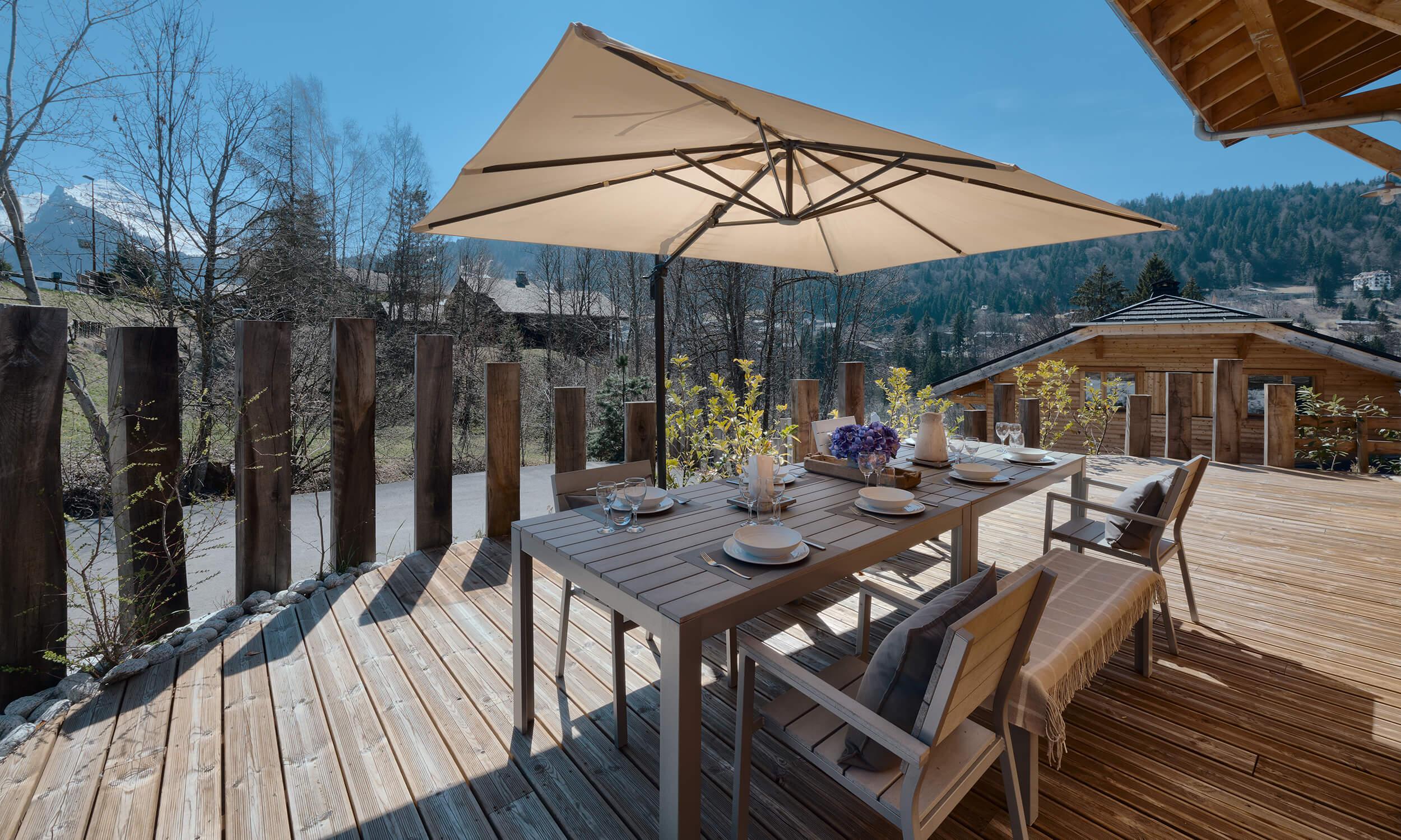 Terrace of Chalet Blanc - Morzine in summer