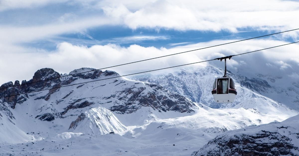 Gondolas skiing mountains