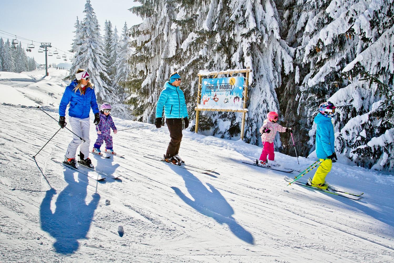 Family skiing in Morzine